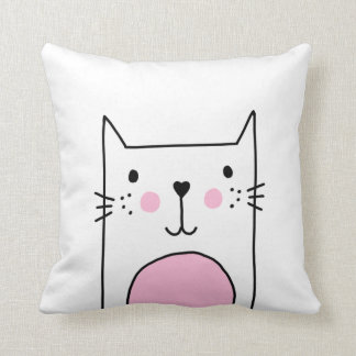 Super Cute & Girly Cat Drawing Hand Drawn Pillow