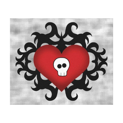 Super cute gothic damask skull heart black and red stretched canvas print