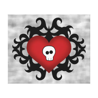 Super cute gothic damask skull heart black and red canvas print