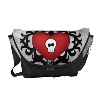 Super cute gothic damask skull heart black and red commuter bags