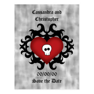 Super cute gothic damask skull heart black and red postcard