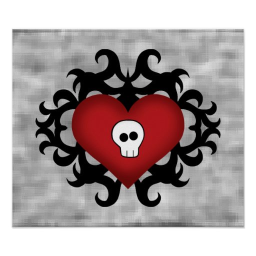 Super cute gothic damask skull heart black and red print