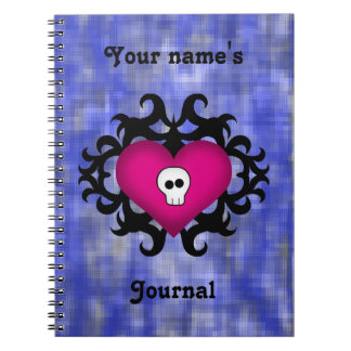 Super cute gothic damask skull heart fuschia blue notebooks