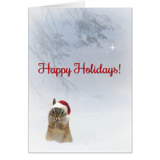 Super Cute Happy Holidays Chipmunk and Candy Cane Card