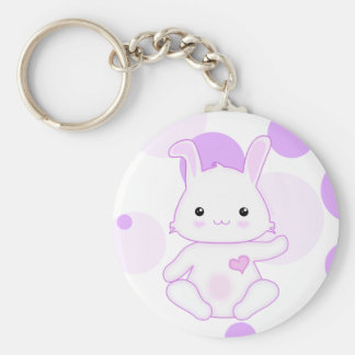 Super Cute Kawaii Bunny Rabbit in Lilac and White Key Ring