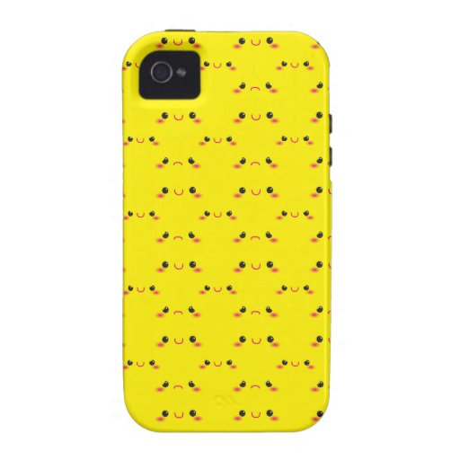 Super cute Kawaii face on yellow iPhone 4 Case