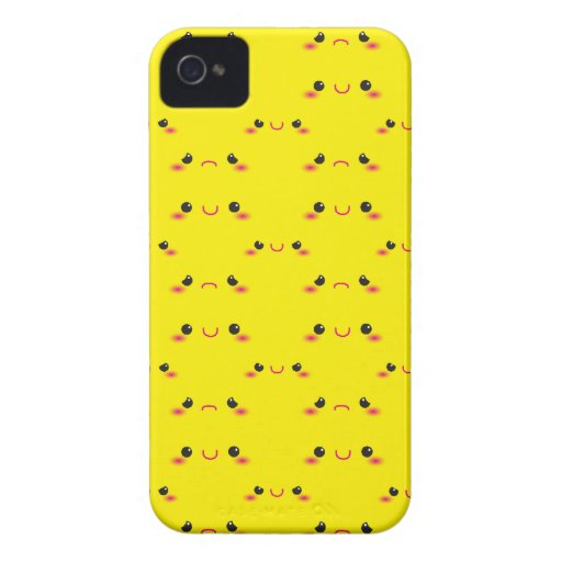 Super cute Kawaii face on yellow Case-Mate iPhone 4 Cases