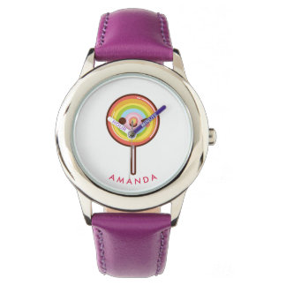 Super cute kawaii rainbow lollipop Personalized Watch