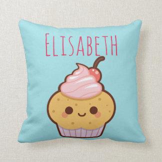 Super cute kawaii sweet cupcake monogram cushion