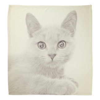 SUPER CUTE Kitten Cat Portrait Bandana