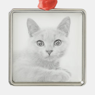 SUPER CUTE Kitten Cat Portrait Christmas Ornament