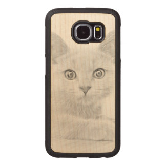 SUPER CUTE Kitten Portrait Photograph Wood Phone Case