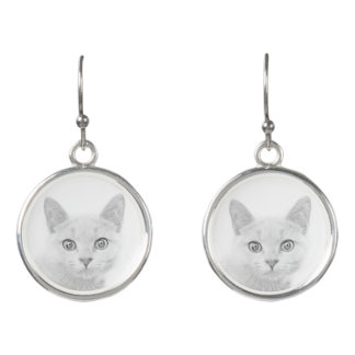 SUPER CUTE Kitty Portrait Earrings