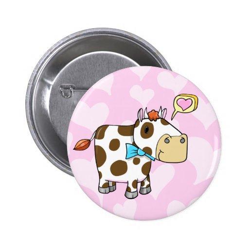 Super Cute Loving Valentine Cow Button