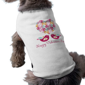 Super Cute Mod Flower Heart and Birds Doggie T Shirt