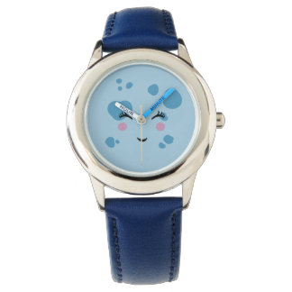 Super Cute & Nerdy Smiling Blue Moon Face Watch