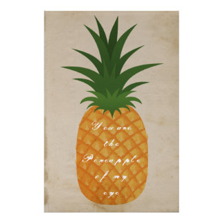 Super Cute Pineapple Graphic Old Paper Love Quote Poster