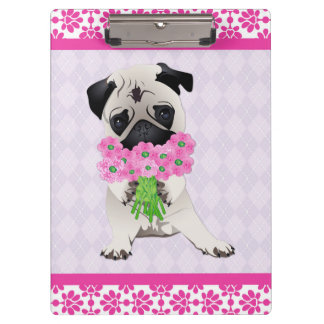 Super Cute Pug with Pink Flowers Clipboards