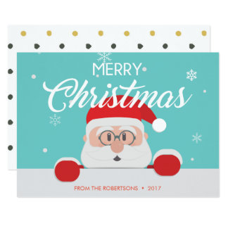 Super Cute Santa Claus Face Christmas Card
