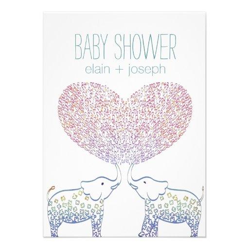 Super Cute & Sweet Elephant Baby Shower Neutral Invitation