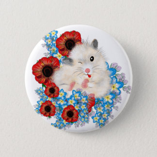 Super cute white sable syrian hamster in flowers 6 cm round badge