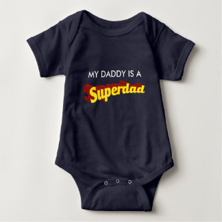 Super Dad dad is my superhero comic text Baby Bodysuit