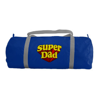Super Dad Red Yellow Blue Father's Day Superhero Gym Duffel Bag
