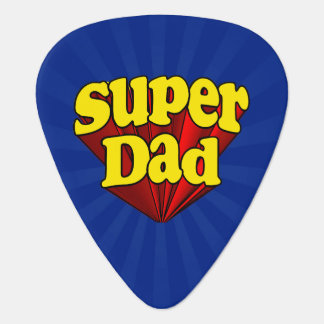 Super Dad Red Yellow Blue Father's Day Superhero Plectrum