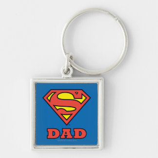 Super Dad Silver-Colored Square Key Ring