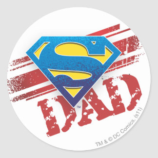 Super Dad Stripes Round Sticker