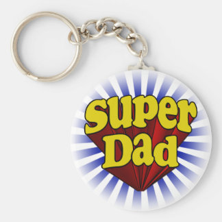 Super Dad, Superhero Red/Yellow/Blue Basic Round Button Key Ring