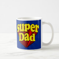 Super Dad, Superhero Red/Yellow/Blue Father's Day Coffee Mug