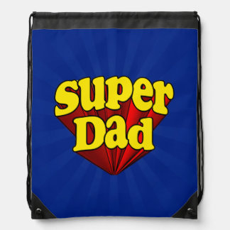 Super Dad, Superhero Red/Yellow/Blue Father's Day Drawstring Backpacks