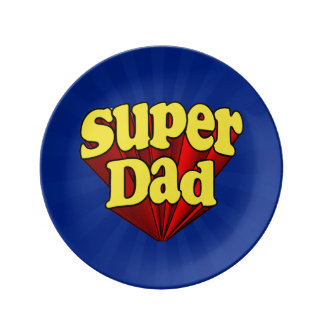 Super Dad, Superhero Red/Yellow/Blue Father's Day Plate