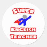 Super English Teacher Round Stickers