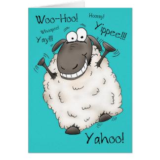 Super Excited Cartoon Sheep Birthday Card