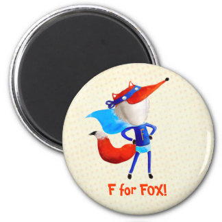 Super Fox 6 Cm Round Magnet
