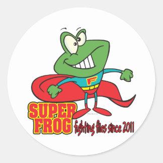 super frog fighting flies since 2011 round sticker