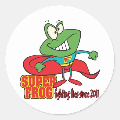super frog fighting flies since 2011 round stickers