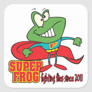 super frog fighting flies since 2011 square sticker