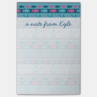 Super Fun Fish And Sailboat Pattern | Add Your Nam Post-it Notes