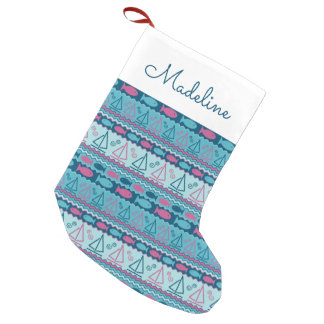 Super Fun Fish And Sailboat Pattern | Add Your Nam Small Christmas Stocking