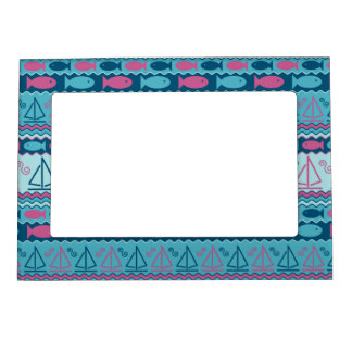 Super Fun Fish And Sailboat Pattern Magnetic Picture Frame