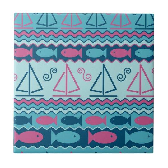 Super Fun Fish And Sailboat Pattern Tile
