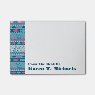 Super Fun Fish & Sailboat Pattern | Add Your Name Post-it Notes