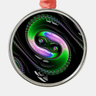 Super Glossy Snake Fractal Pattern Silver-Colored Round Decoration