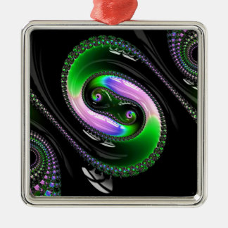 Super Glossy Snake Fractal Pattern Silver-Colored Square Decoration