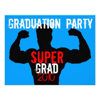 Super Grad Graduation Party Blue 2 Invitation