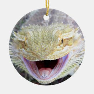 Super Happy Bearded Dragon Round Ceramic Decoration