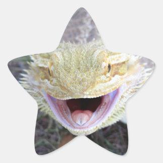 Super Happy Bearded Dragon Star Sticker